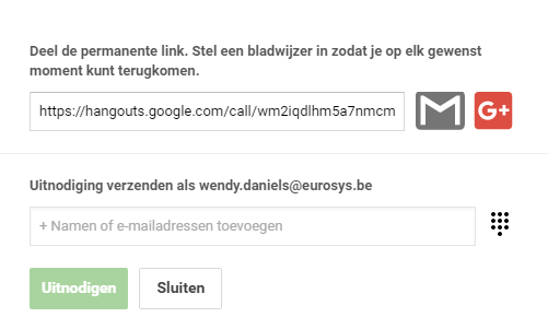 Google Video Hangouts delen via link