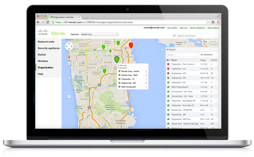 meraki dashboard